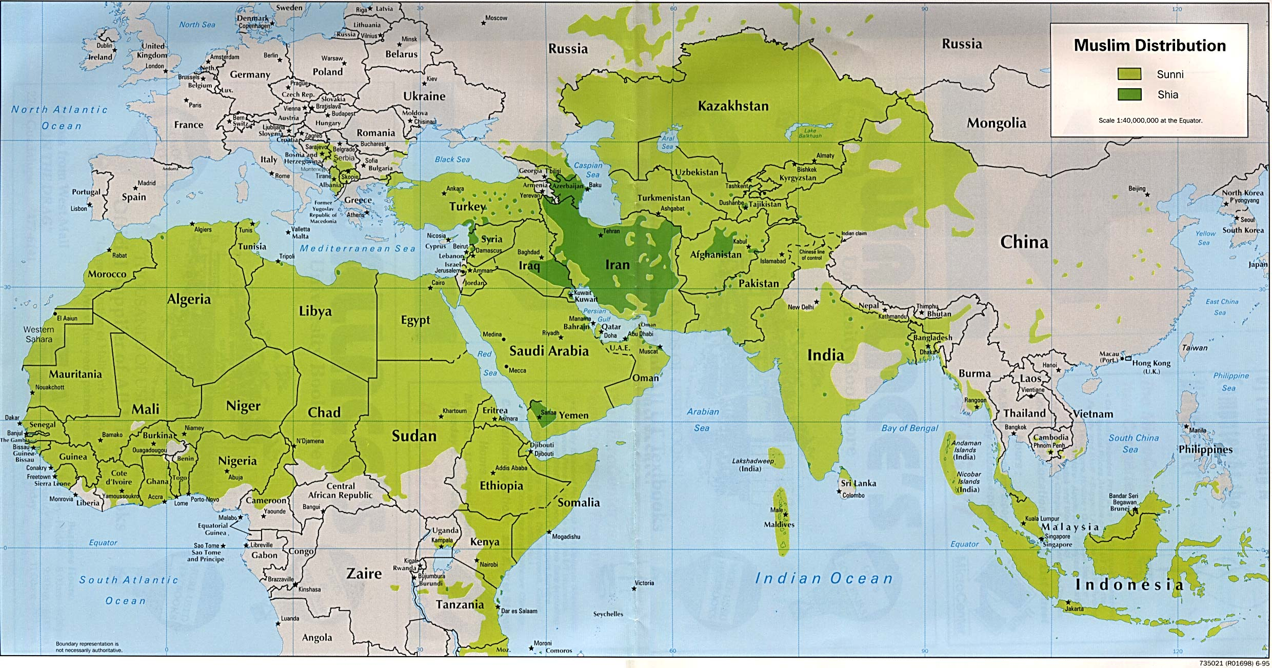 Muslim World Map Facts About The Muslims The Religion Of Islam - World map showing religion